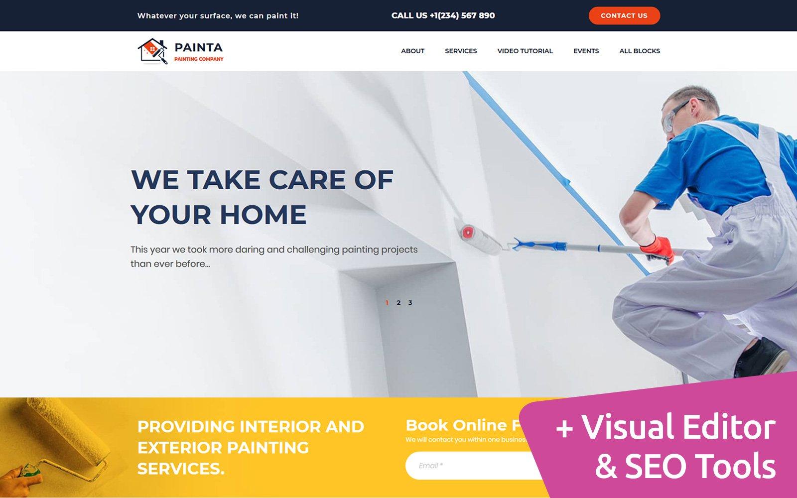 """Painta - Painting Company MotoCMS"" 着陆页模板 #107318"