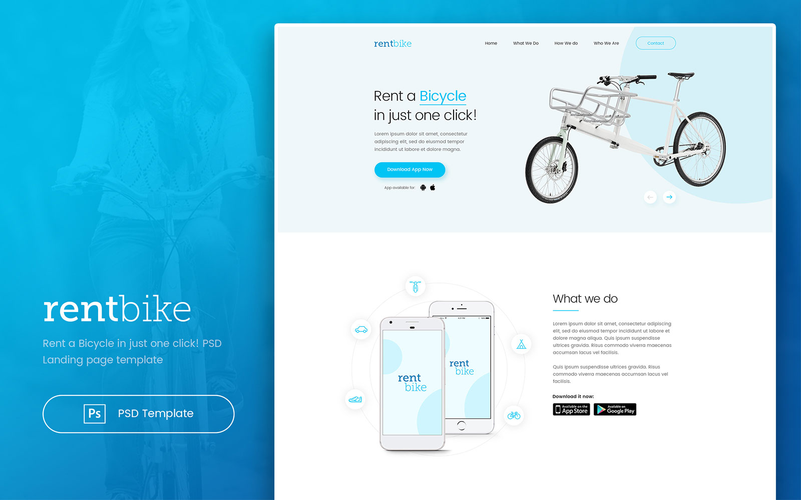 RentBike - Rent a Bicycle Landing PSD Template