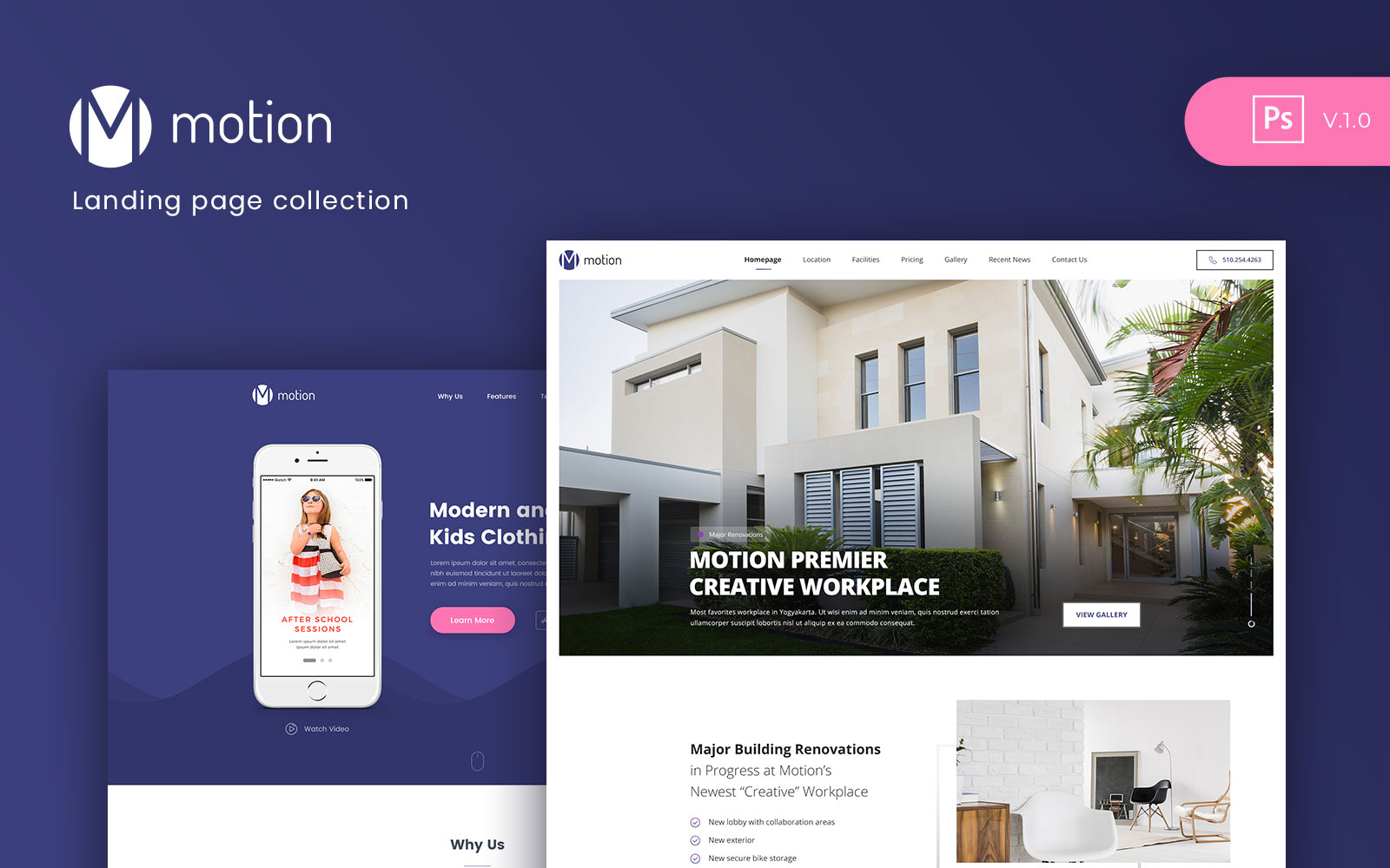 """Tema PSD Bootstrap #107307 """"Motion - Landing page Collection"""""""