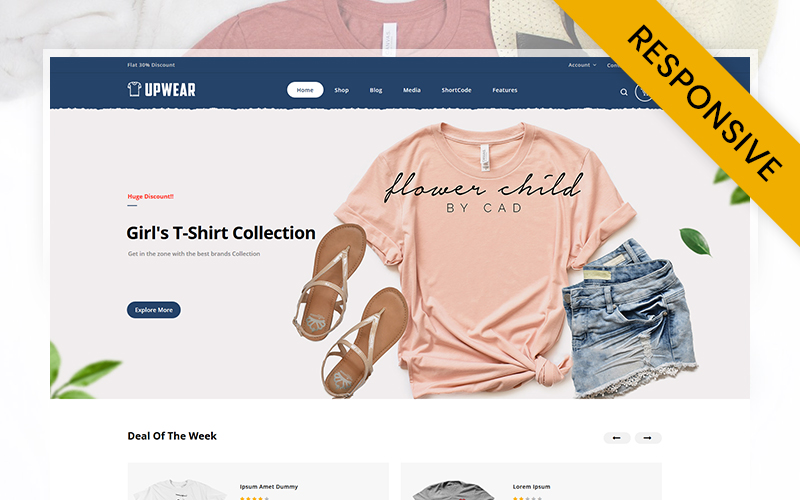 """Upwear - Tshirts Store"" - адаптивний WooCommerce шаблон №107311"