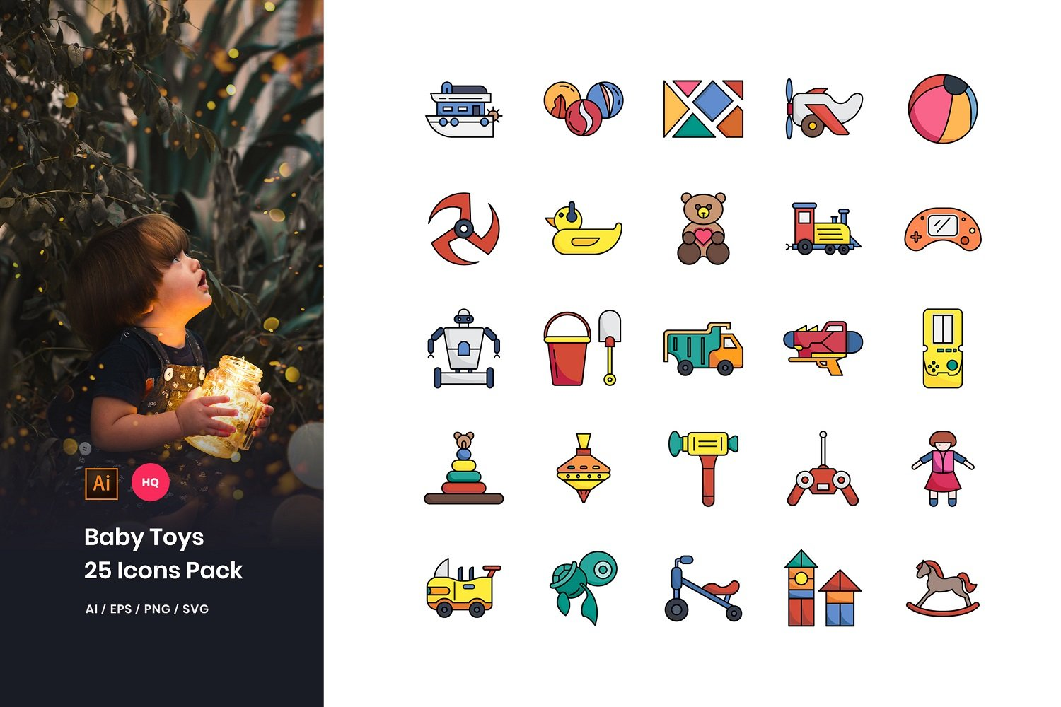 Baby Toys Pack Iconset Template