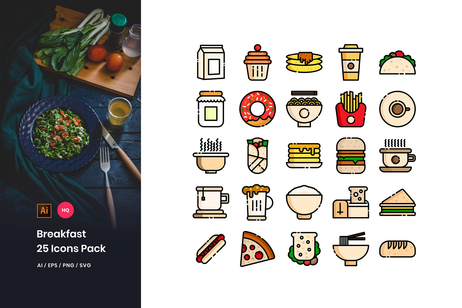 Breakfast Toys Pack Iconset Template