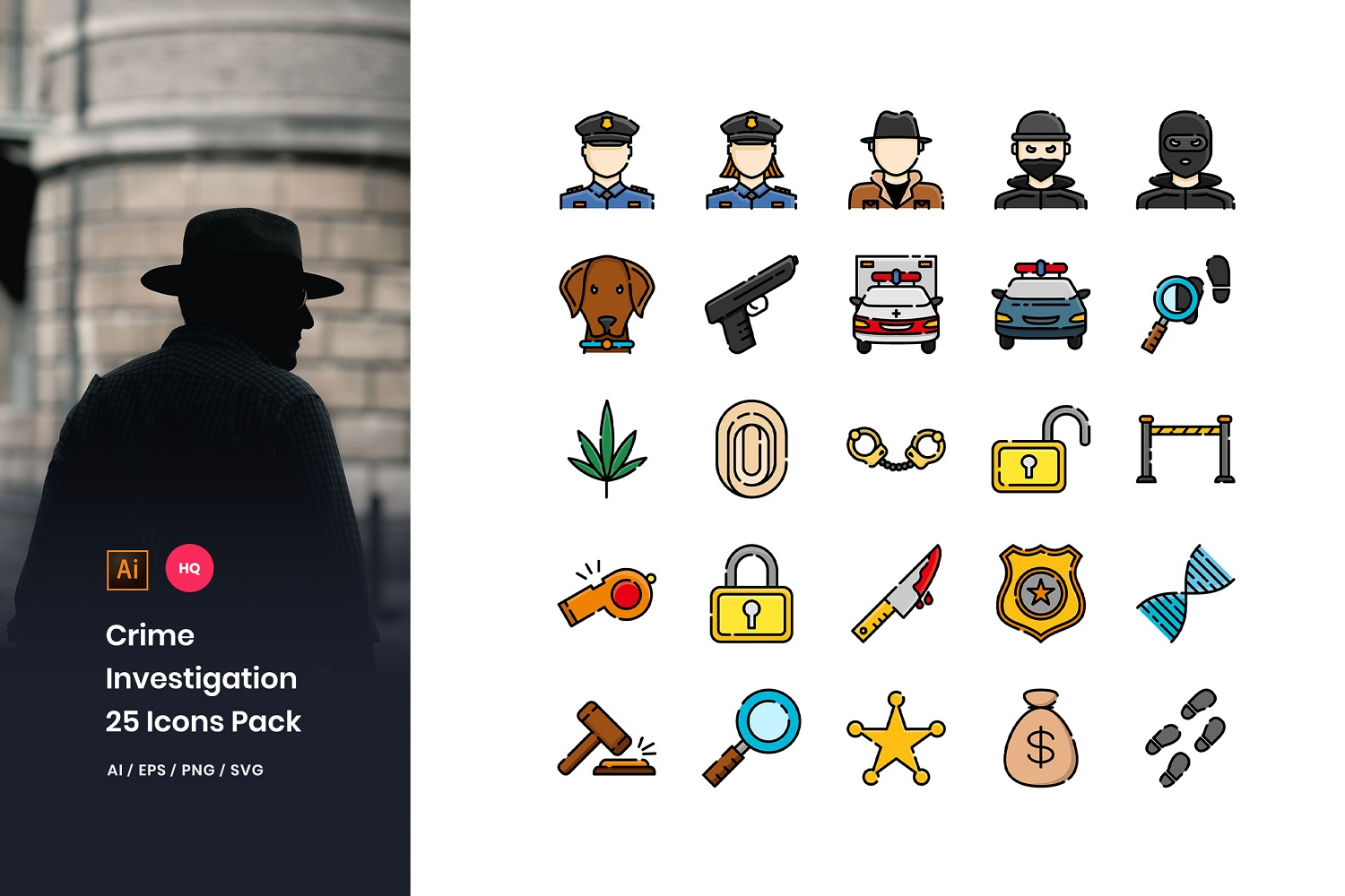 Crime Investigation Pack Iconset Template