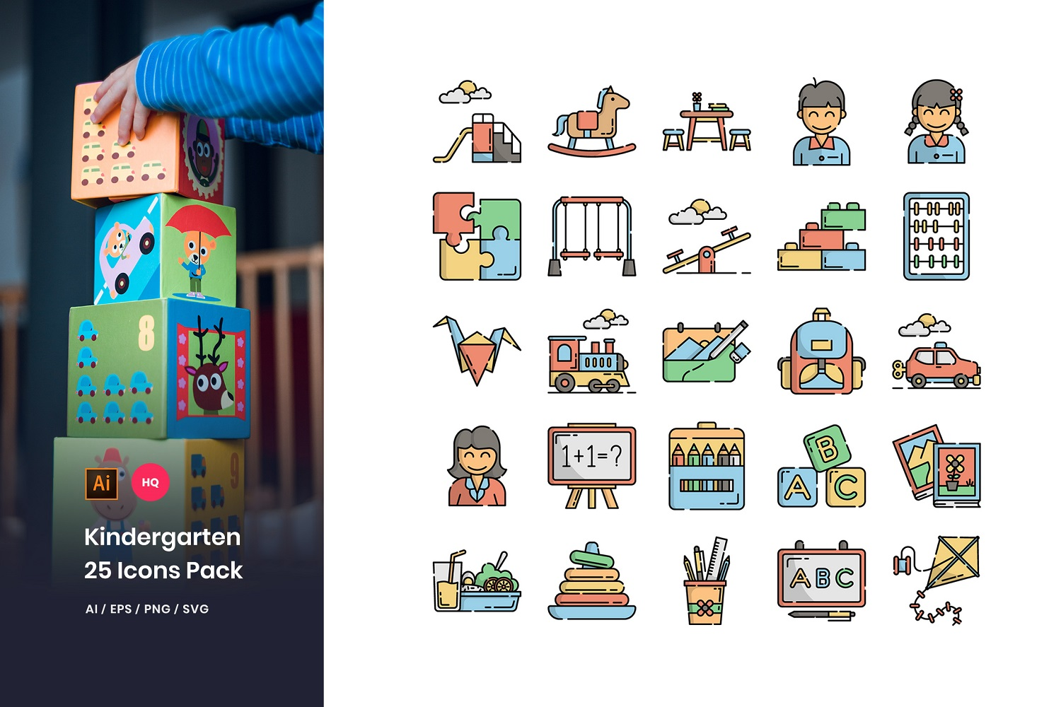 Kindergarten Pack Iconset Template