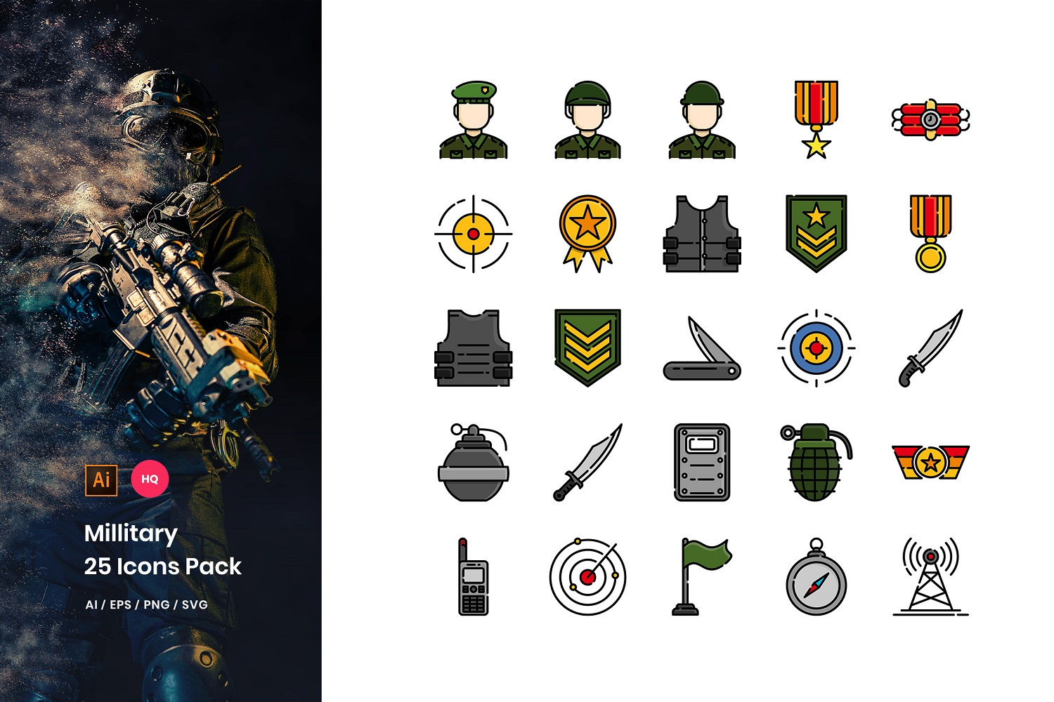 Military Pack Iconset Template