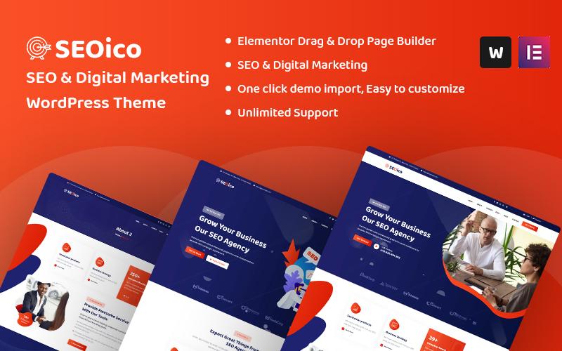 "Modello WordPress Responsive #107441 ""Seoico - SEO & Digital Marketing"""