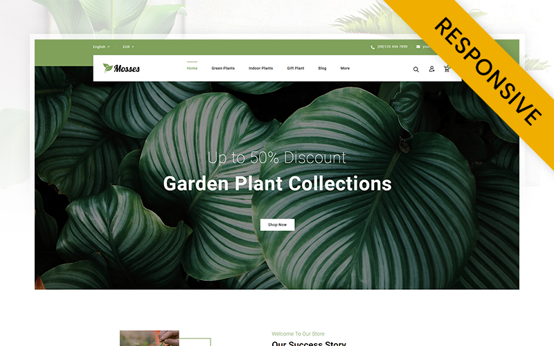 """Mosses Plant Store"" 响应式PrestaShop模板 #107446"