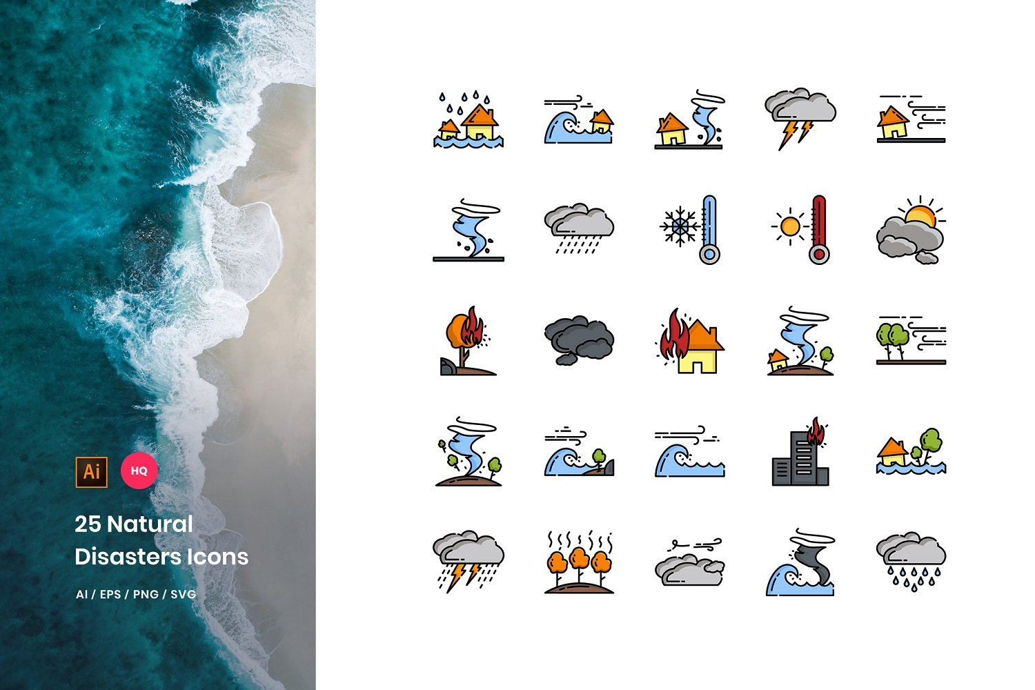 Natural Disaster Pack Iconset Template
