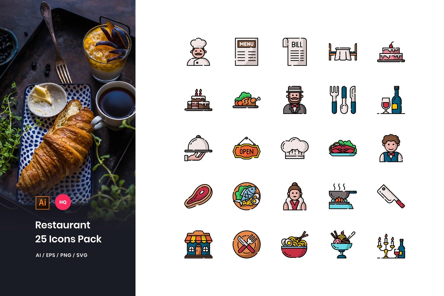 Restaurant Pack Iconset Template