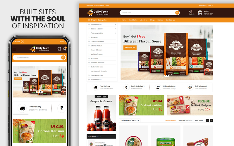 """Template Shopify Responsive #107443 """"Dailytown - The Grocery & Food Responsive Premium"""""""