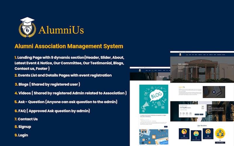 Alumnius- Association Management System Website Template