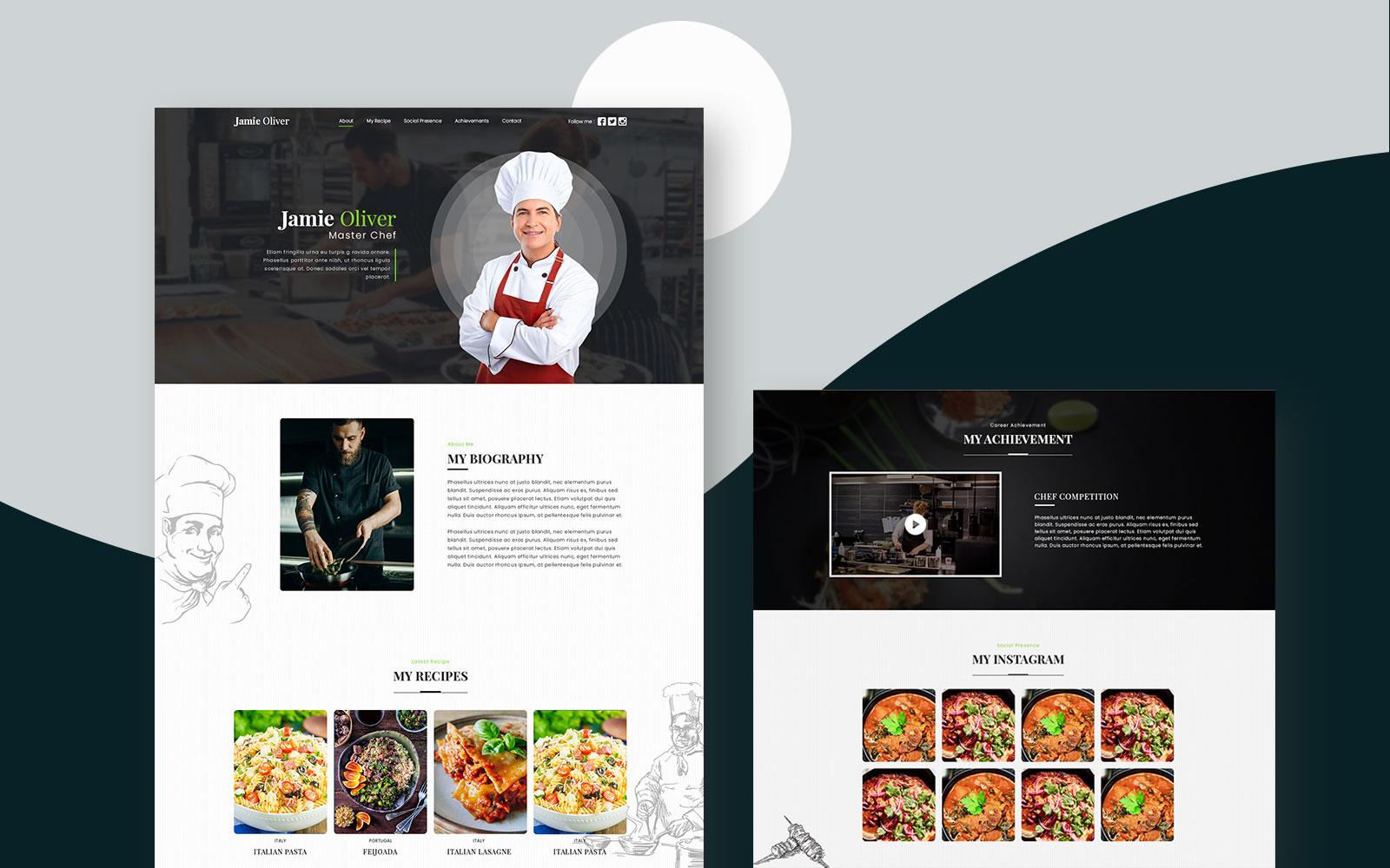 """Cooking Portfolio"" PSD模板 #107573"