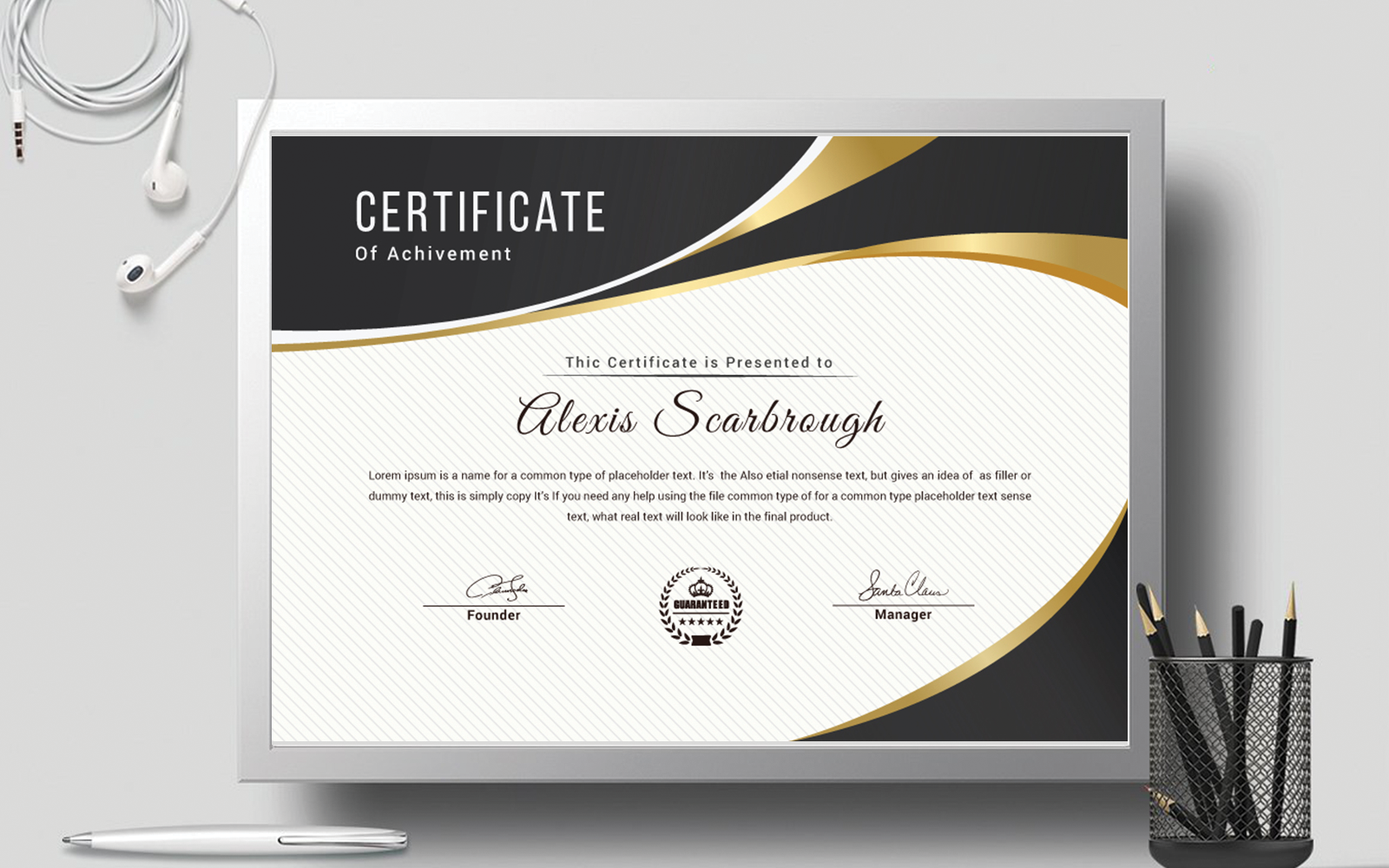 Layout with Black and Gold Accent Certificate Template