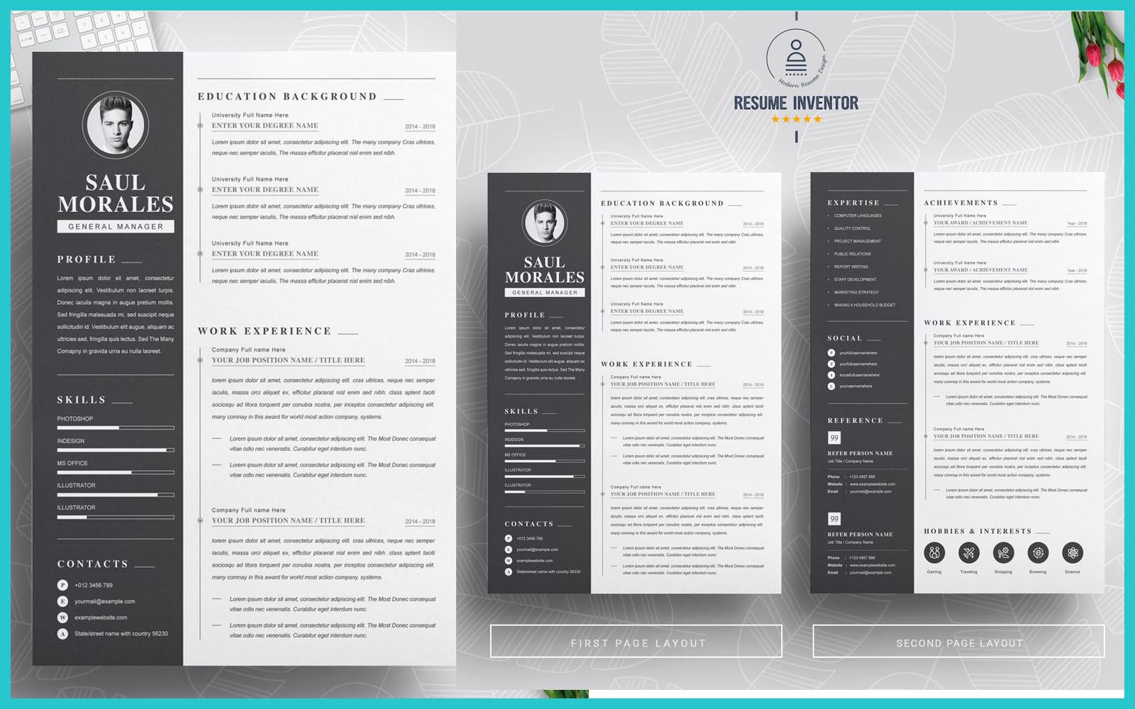 Professional / Word Cv Black Design Resume Template