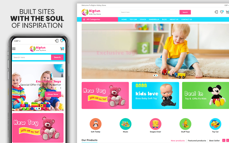 """Template Shopify Responsive #107578 """"Big Fun - The Kids Toy Store"""""""