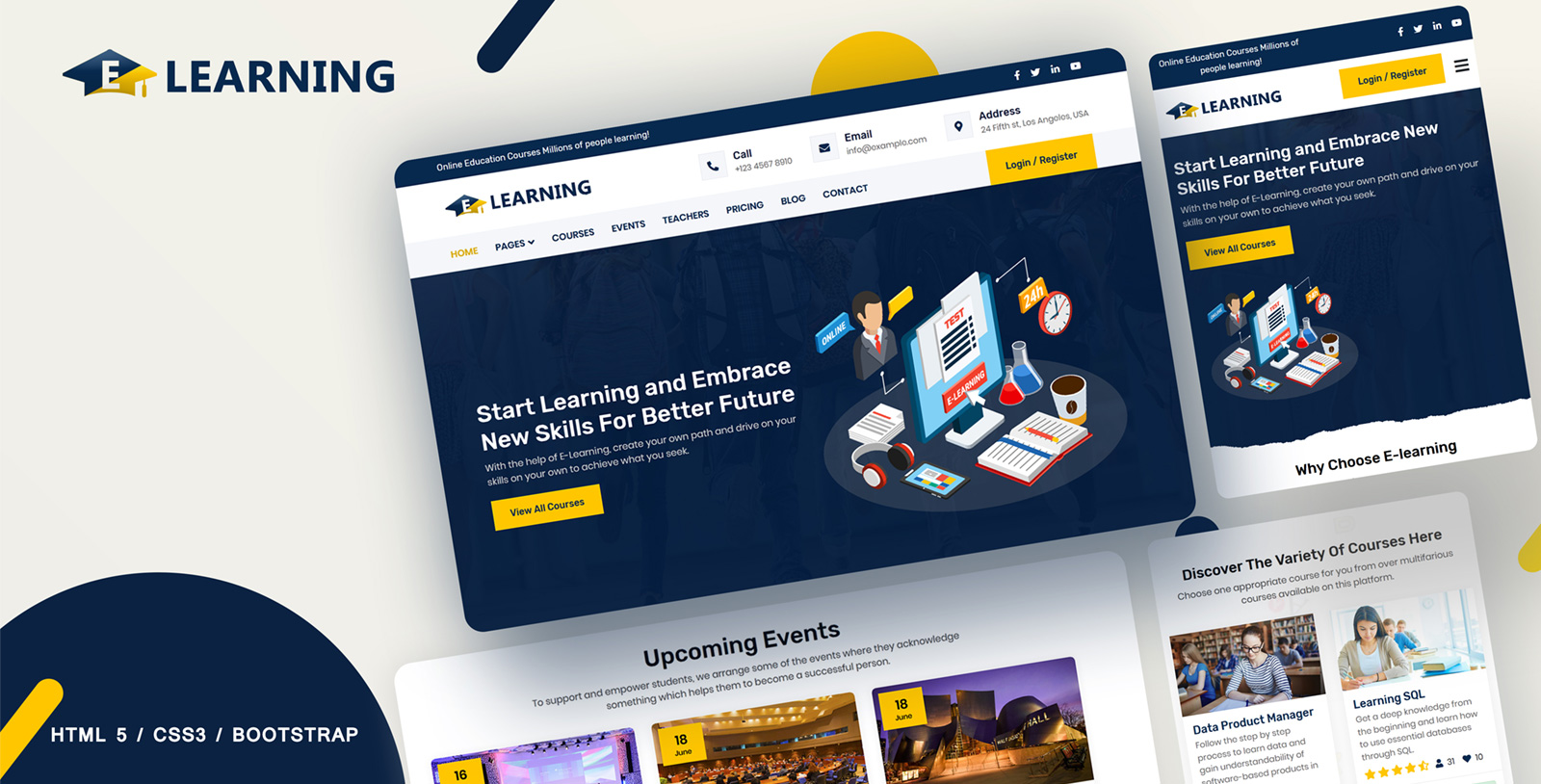 """Template Siti Web Responsive #107581 """"E-learning Online courses"""""""