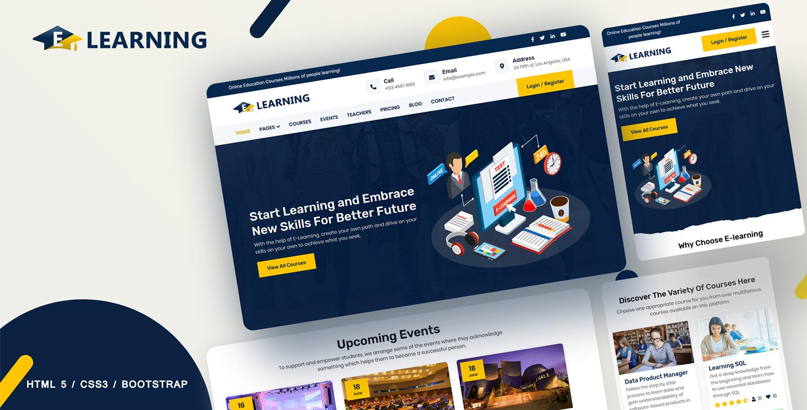 "Website Vorlage namens ""E-learning Online courses"" #107581"