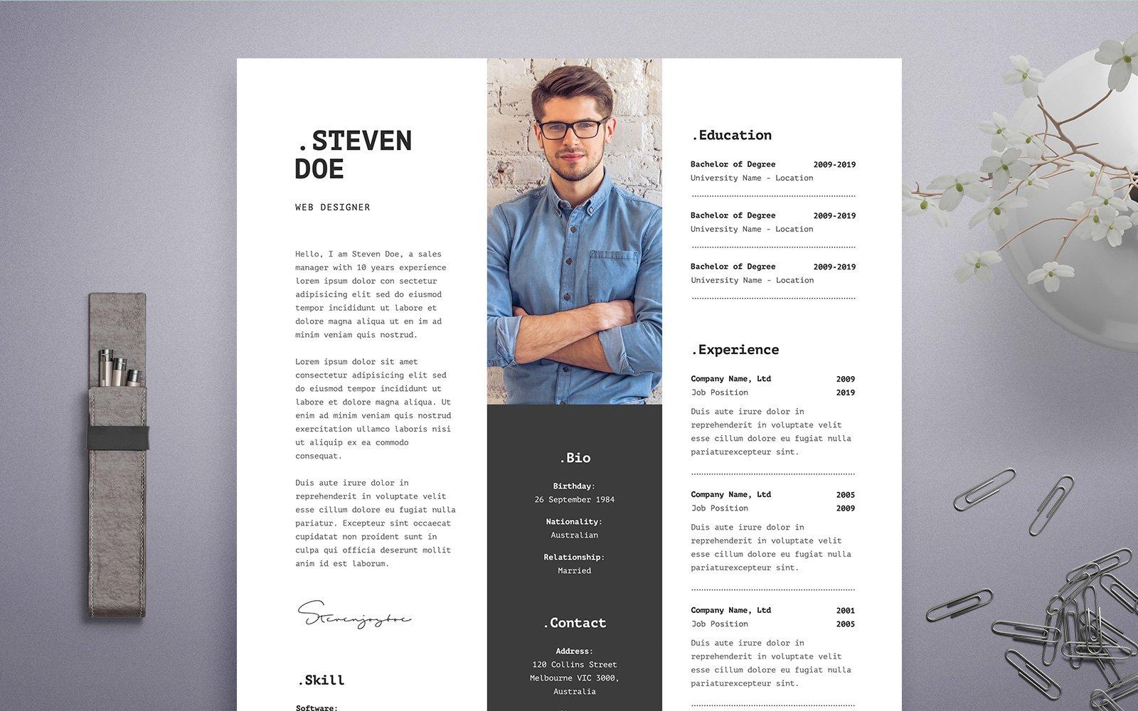 Steven Doe Web Developer Resume Template