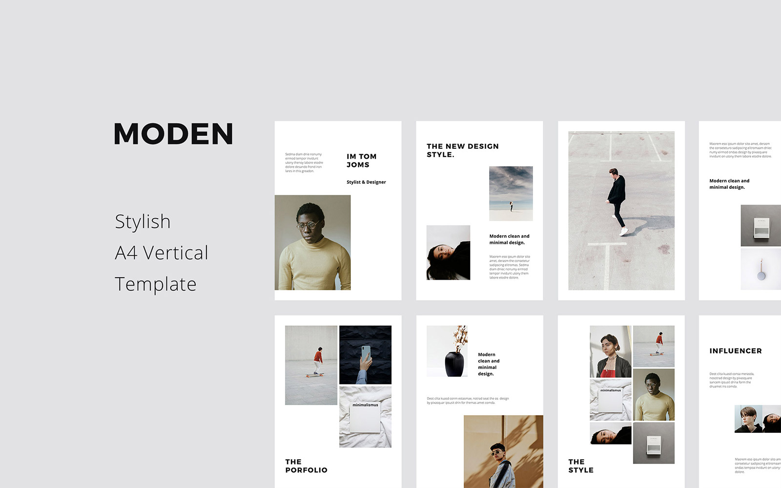 MODEN - A4 Vertical Style Google Slides