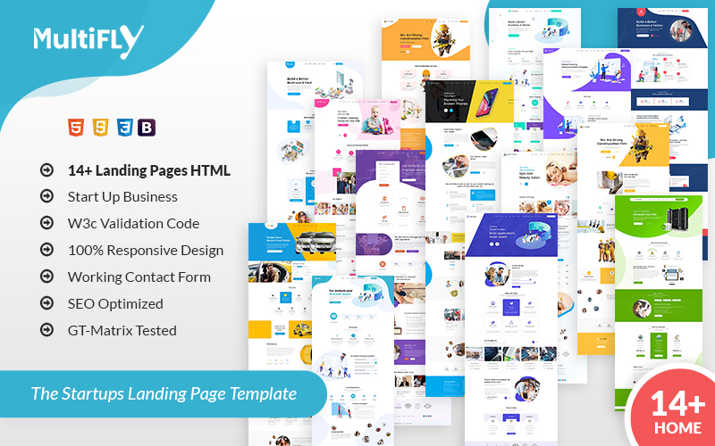 """Multifly Startup HTML"" modèle  de page d'atterrissage adaptatif #107703"