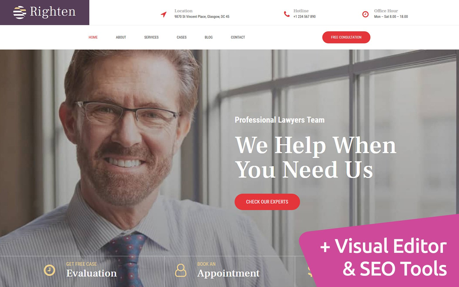 """Righten - Law Firm"" Responsive Moto CMS 3 Template №107705"
