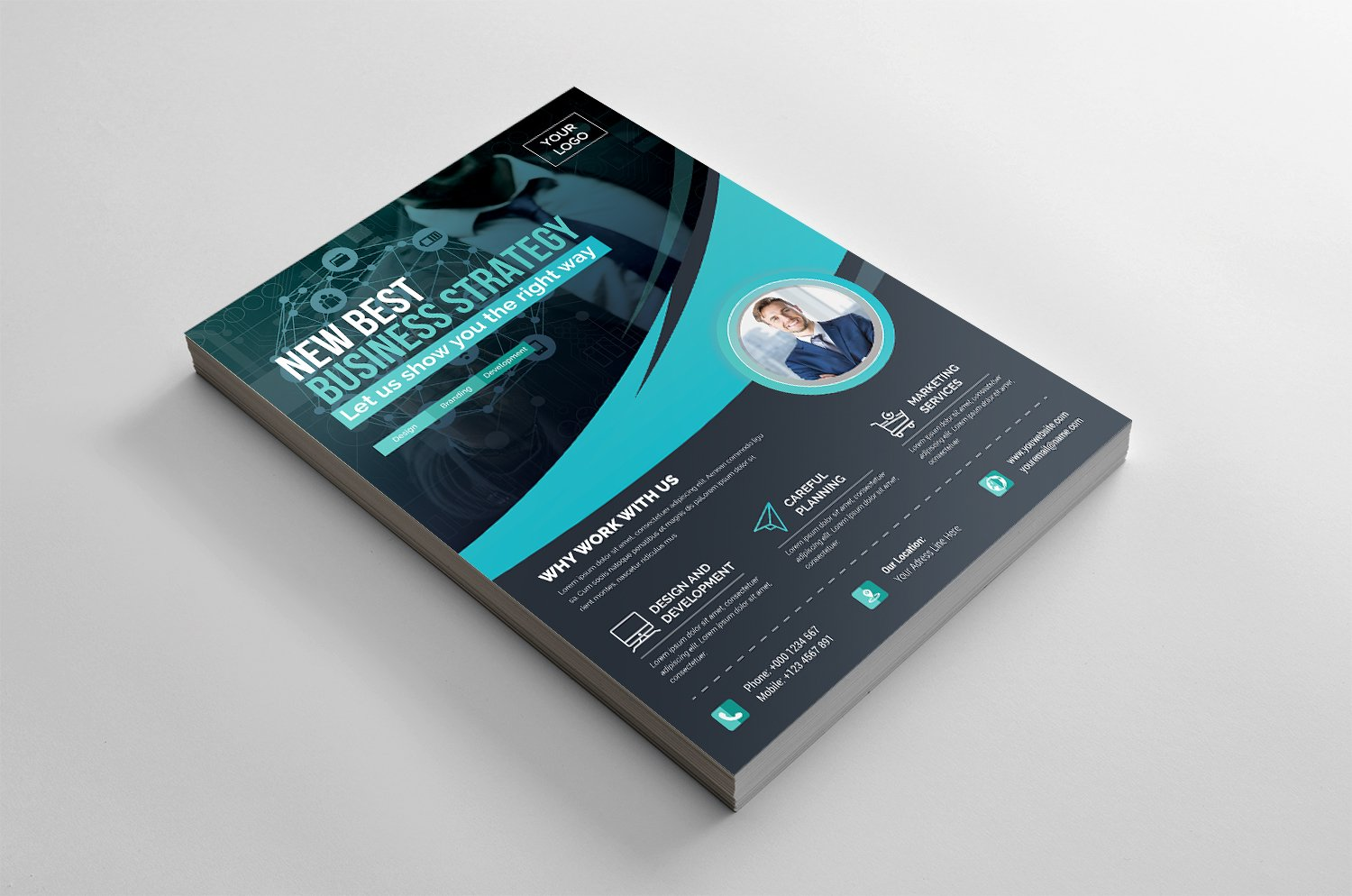 Modern Flyer with Wavy Elements Corporate Identity Template