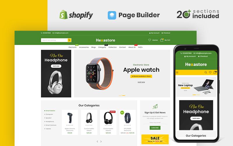 Responsywny szablon Shopify Hexastore Electronics #107869