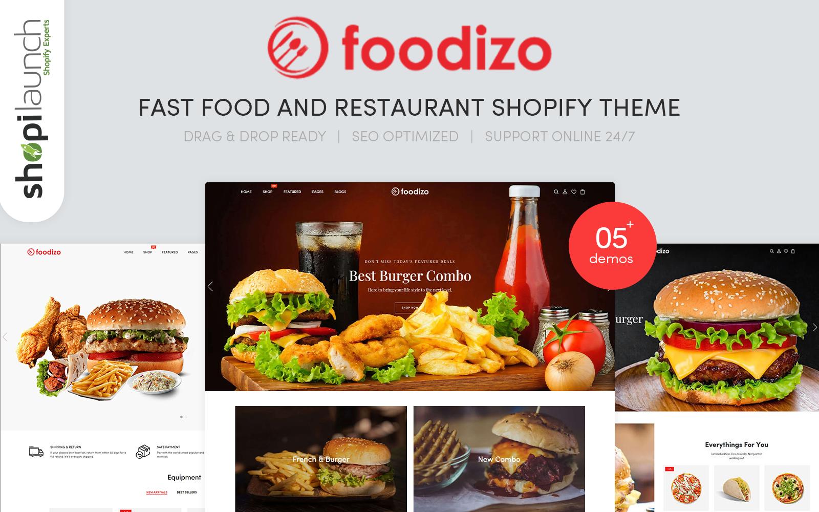"Shopify Theme namens ""Foodizo - Fast Food & Restaurant Responsive Shopify Theme"" #107863"