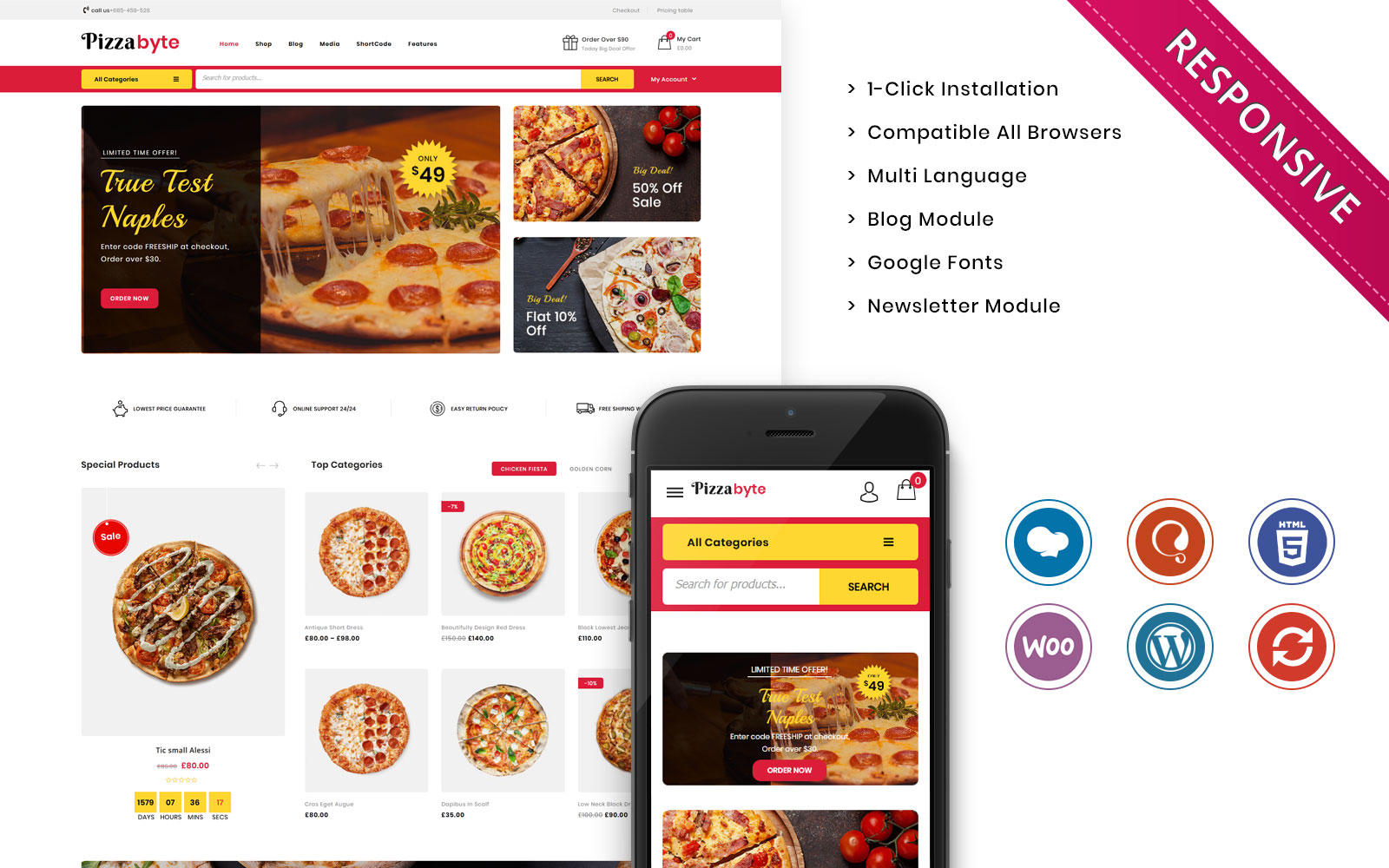 """Template WooCommerce Responsive #107860 """"Pizzabyte - The Fast Food & Restaurant Store"""""""
