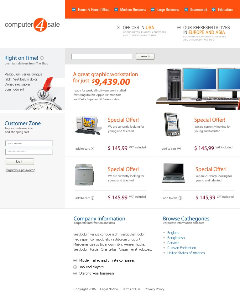 computer store website template 10811