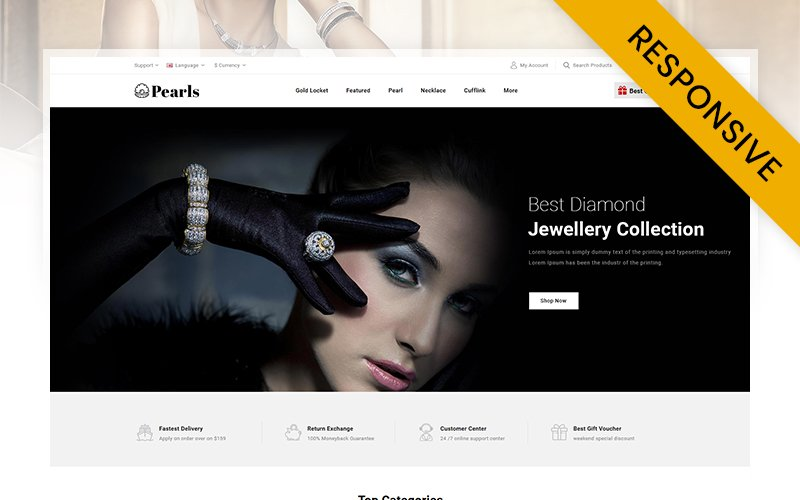 Pearls - Modern Jewelry Store OpenCart Template