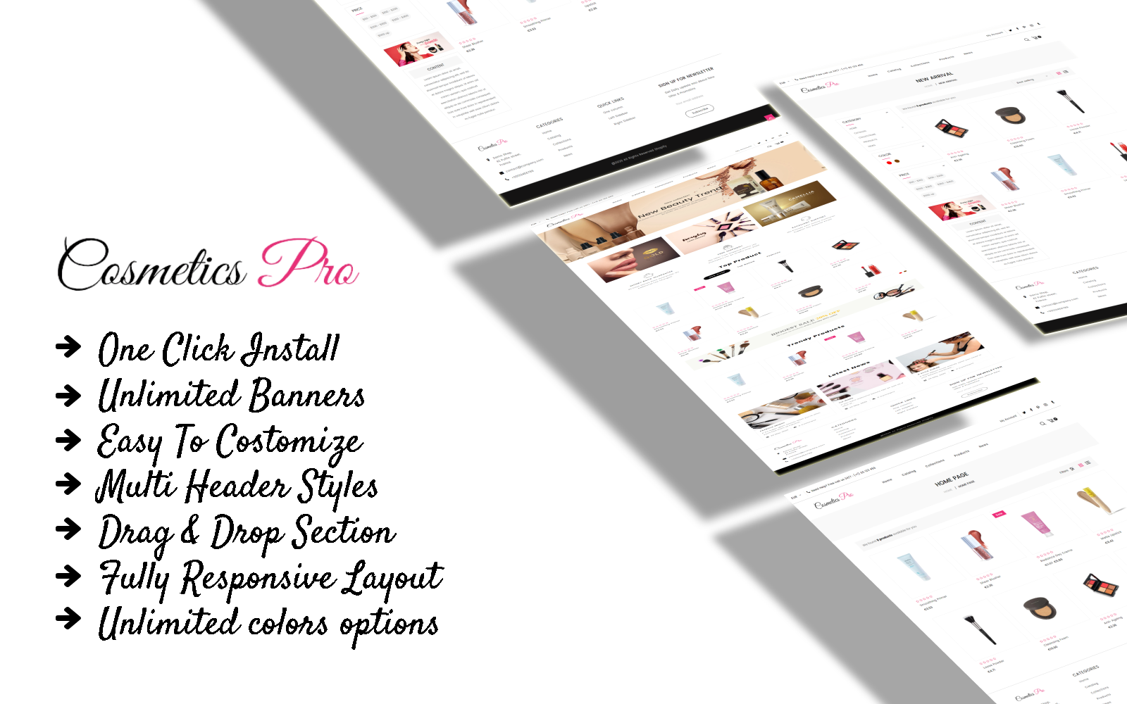 Responsivt Cosmetic pro - Cosmetic eСommerce Clean Shopify-tema #108079