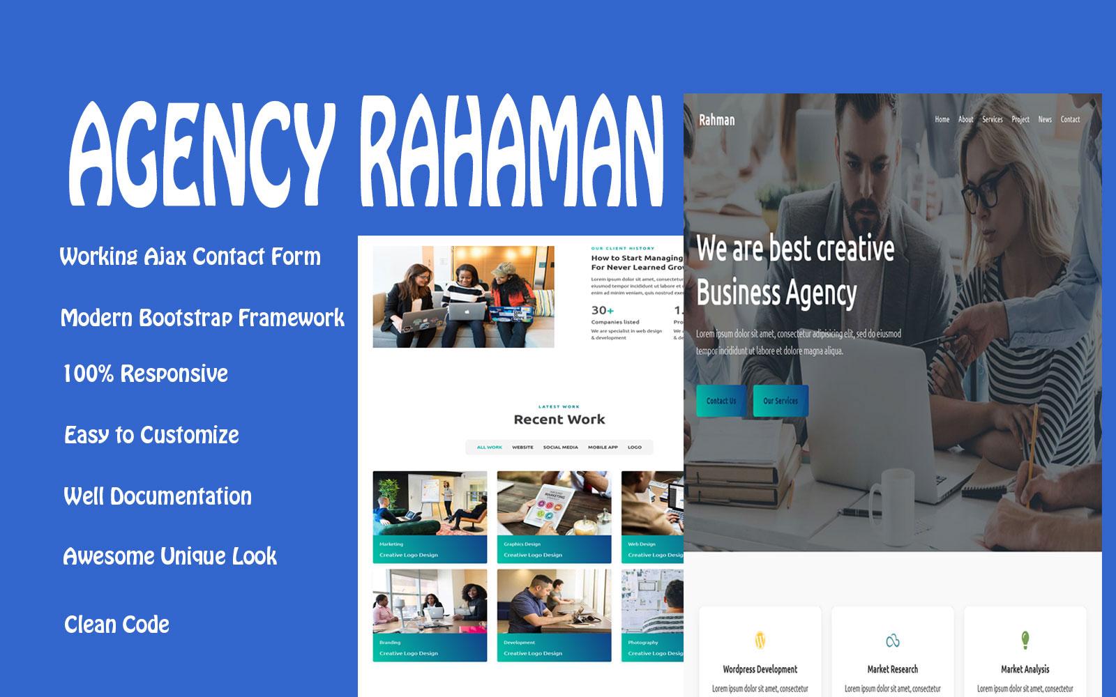 Responsywny szablon Landing Page Rahman - Agency #108088