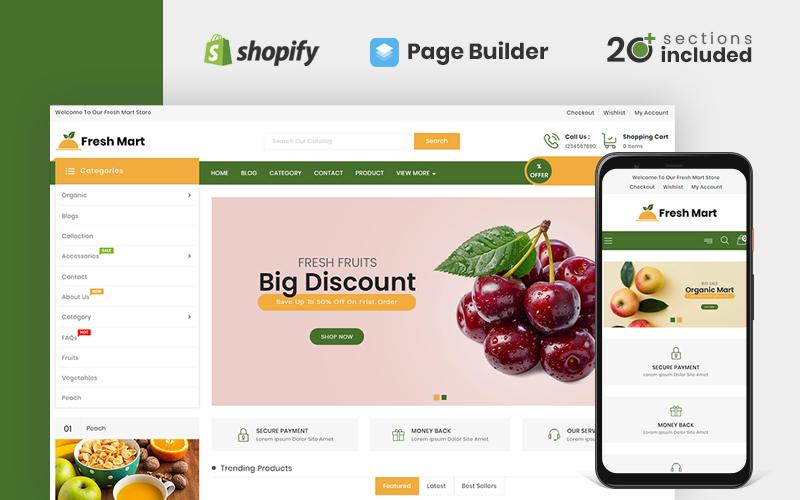 Responsywny szablon Shopify FreshMart Organic & Grocery Store #108086