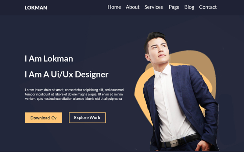 Szablon PSD Lokman One Page Personal #108091