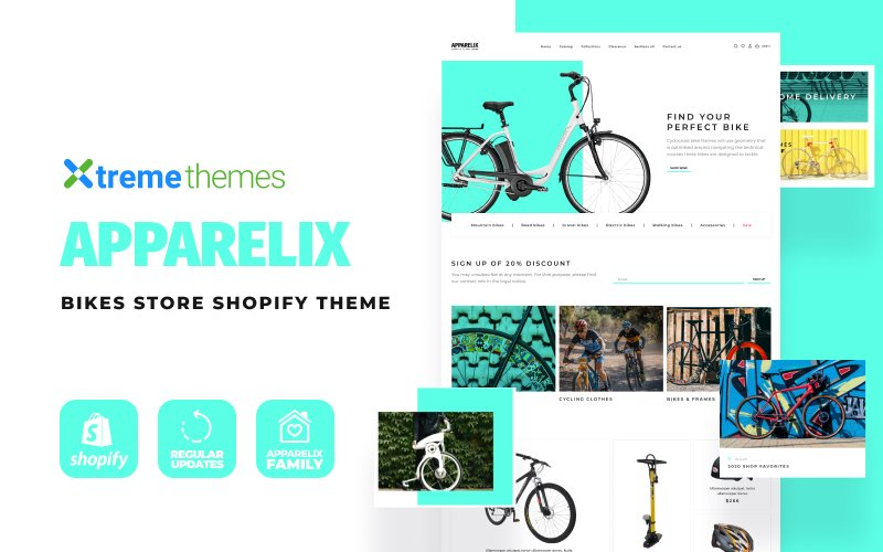 "Tema Shopify ""Apparelix Bikes eCommerce"" #108092"
