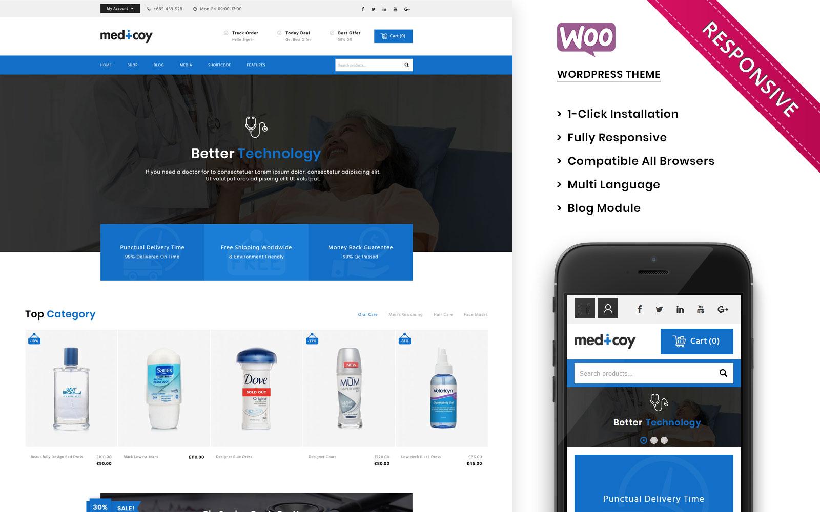"Tema WooCommerce Responsive #108084 ""Medicoy - The Medical Store Responsive"""