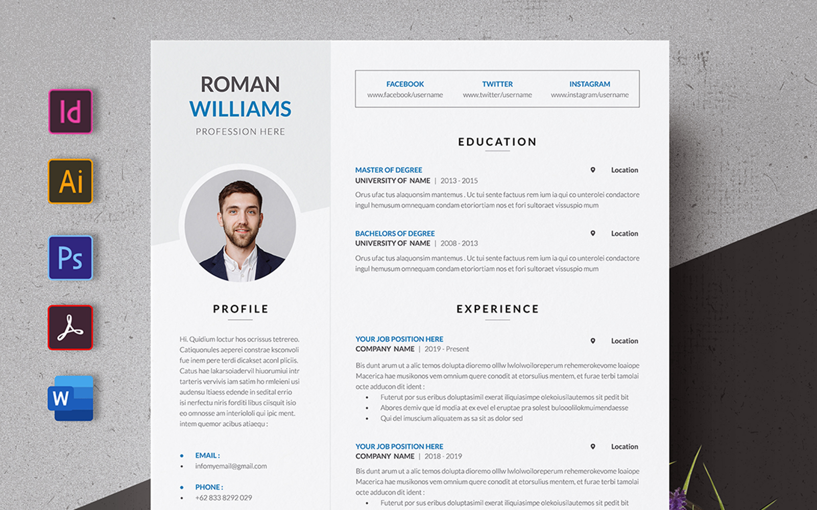 Modern CV Premuin Resume Template
