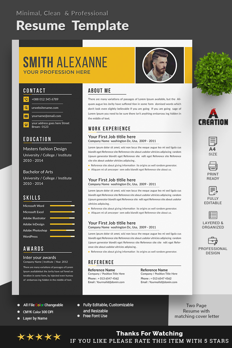 Smith Alexanne Fully Editable CV Resume Template