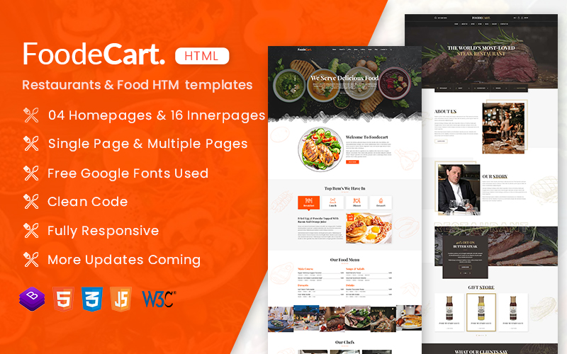 FoodeCart - Restaurants & Food Responsive HTML Website Template