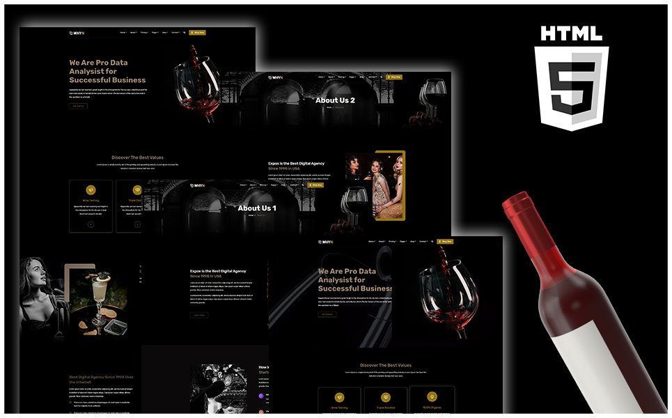 "Plantilla Web ""WHYN - Winery Shpo HTML"" #108327"