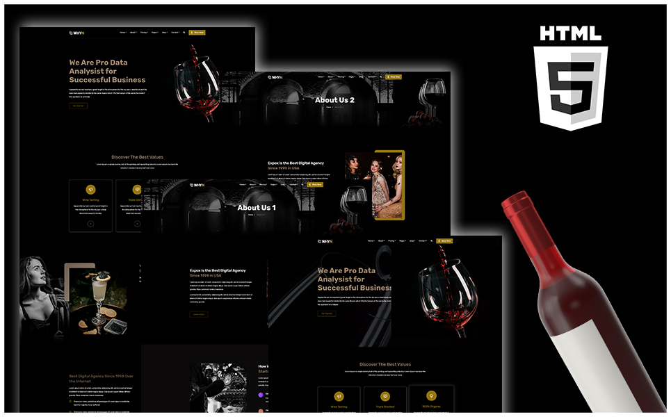 "Tema Siti Web Responsive #108327 ""WHYN - Winery Shpo HTML"""