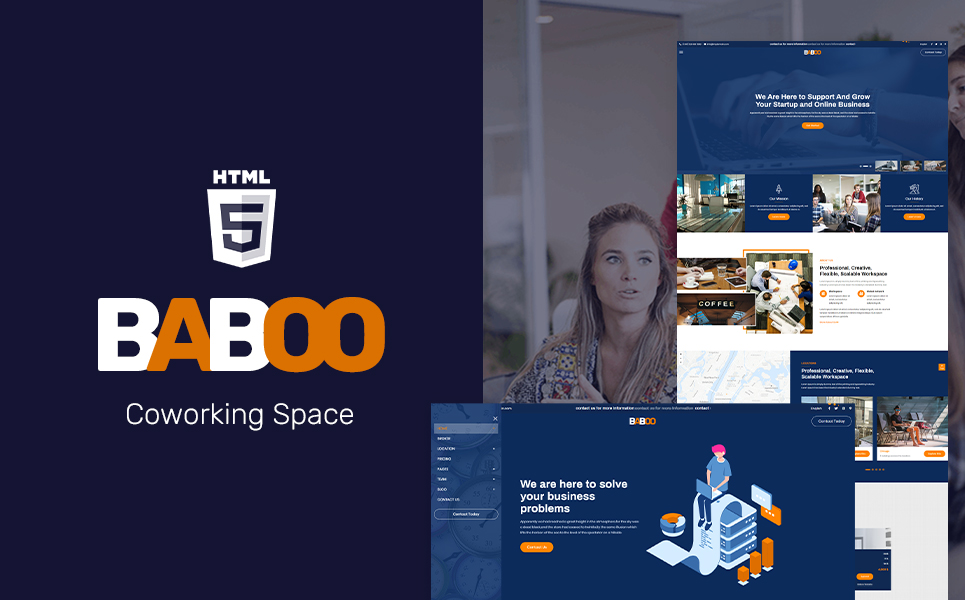 """Baboo - Coworking Office HTML5 Website Template"" Responsive Website template №108497"