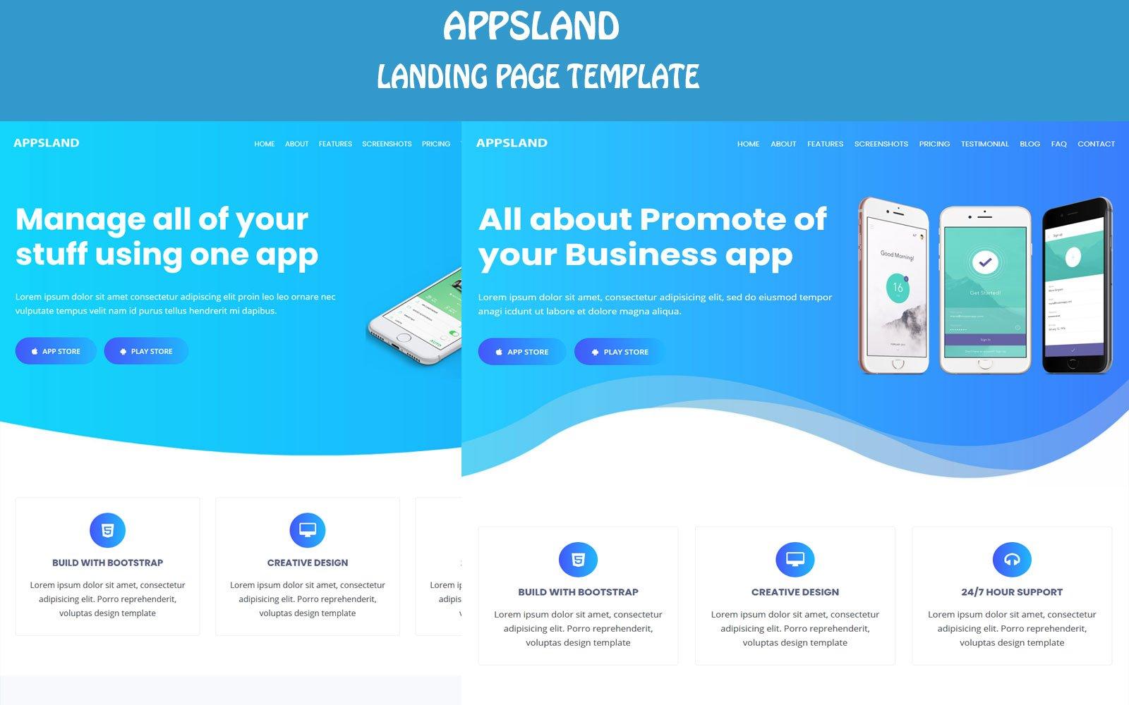 Responsywny szablon Landing Page Appsland - App Html5 #108498