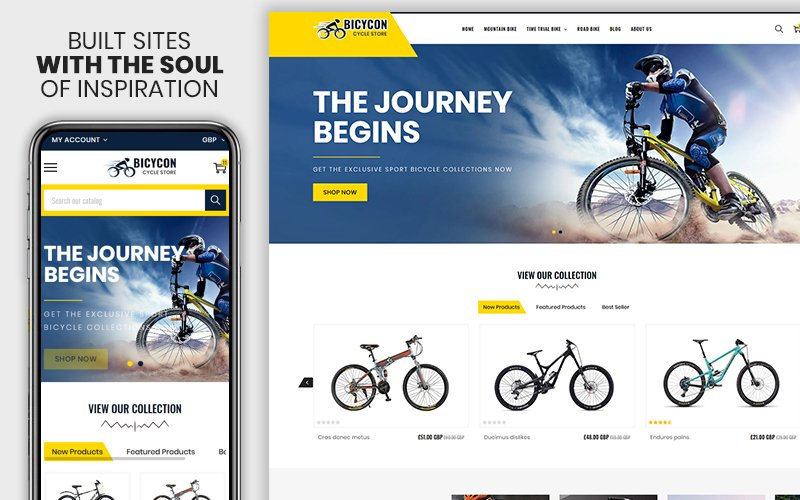 "Tema Shopify Responsive #108492 ""Bicycon - The Cycle & Bicycle Responsive"""