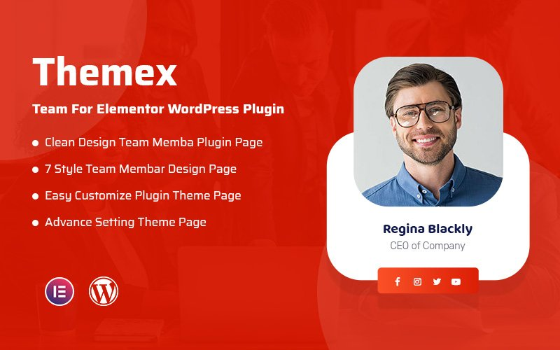 """Themex Team For Elementor"" wordPress Plugin adaptatif #108406"