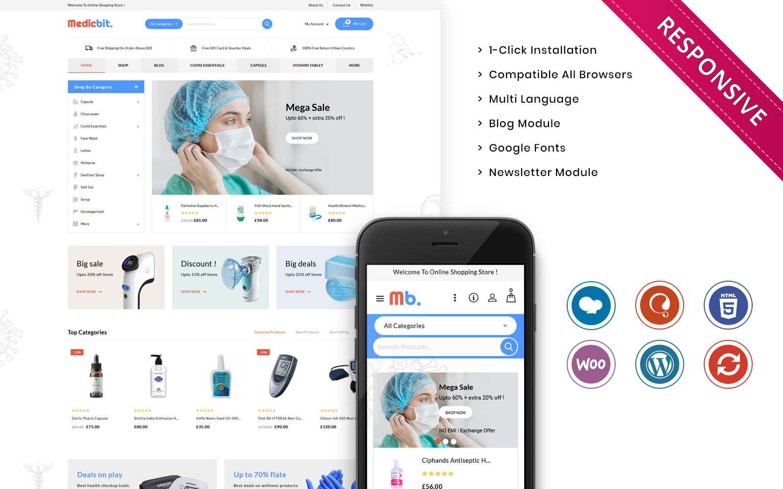 Responsywny motyw WooCommerce Medicbit - The Medical Store Responsive #108532