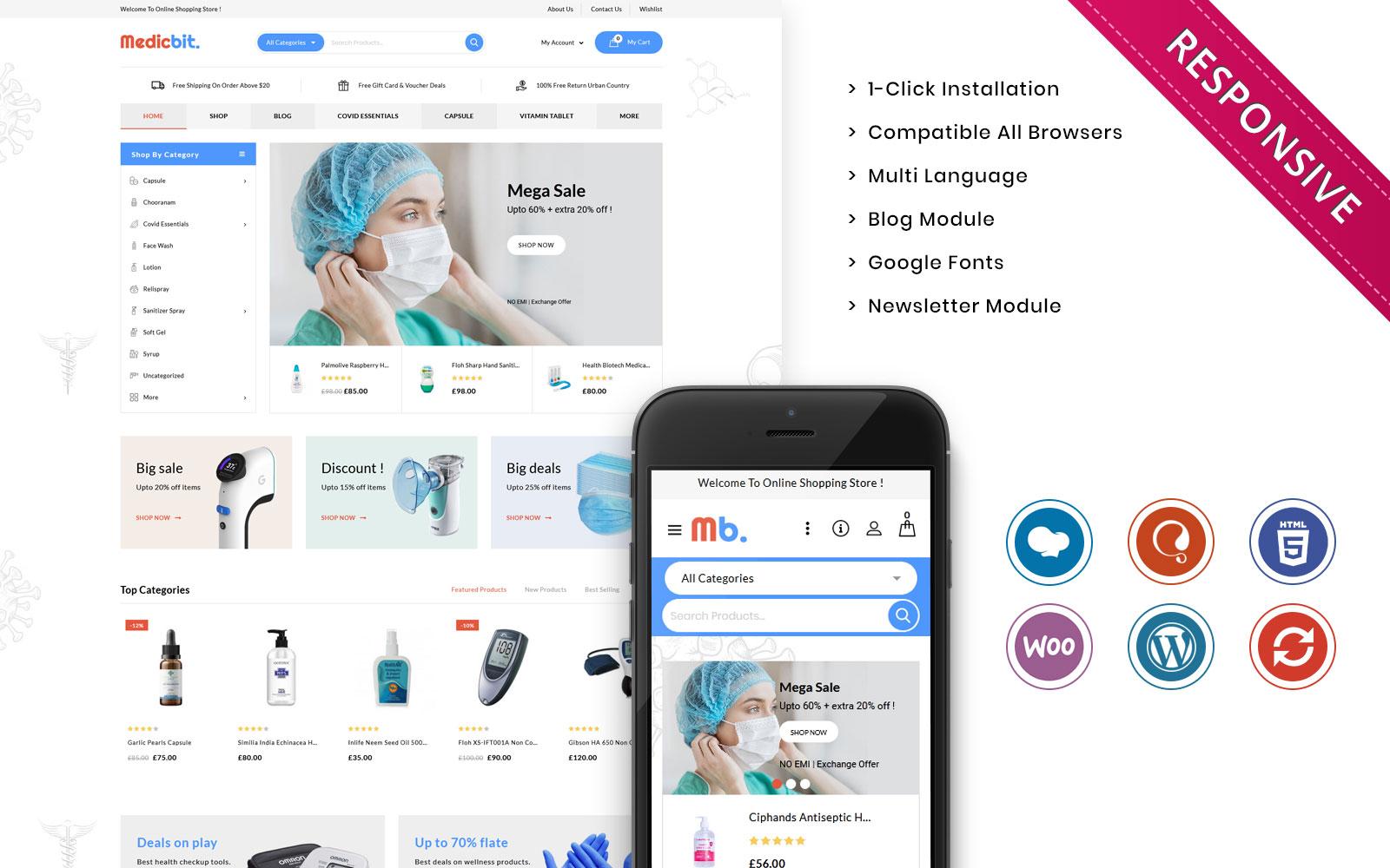 "Template WooCommerce Responsive #108532 ""Medicbit - The Medical Store Responsive"""