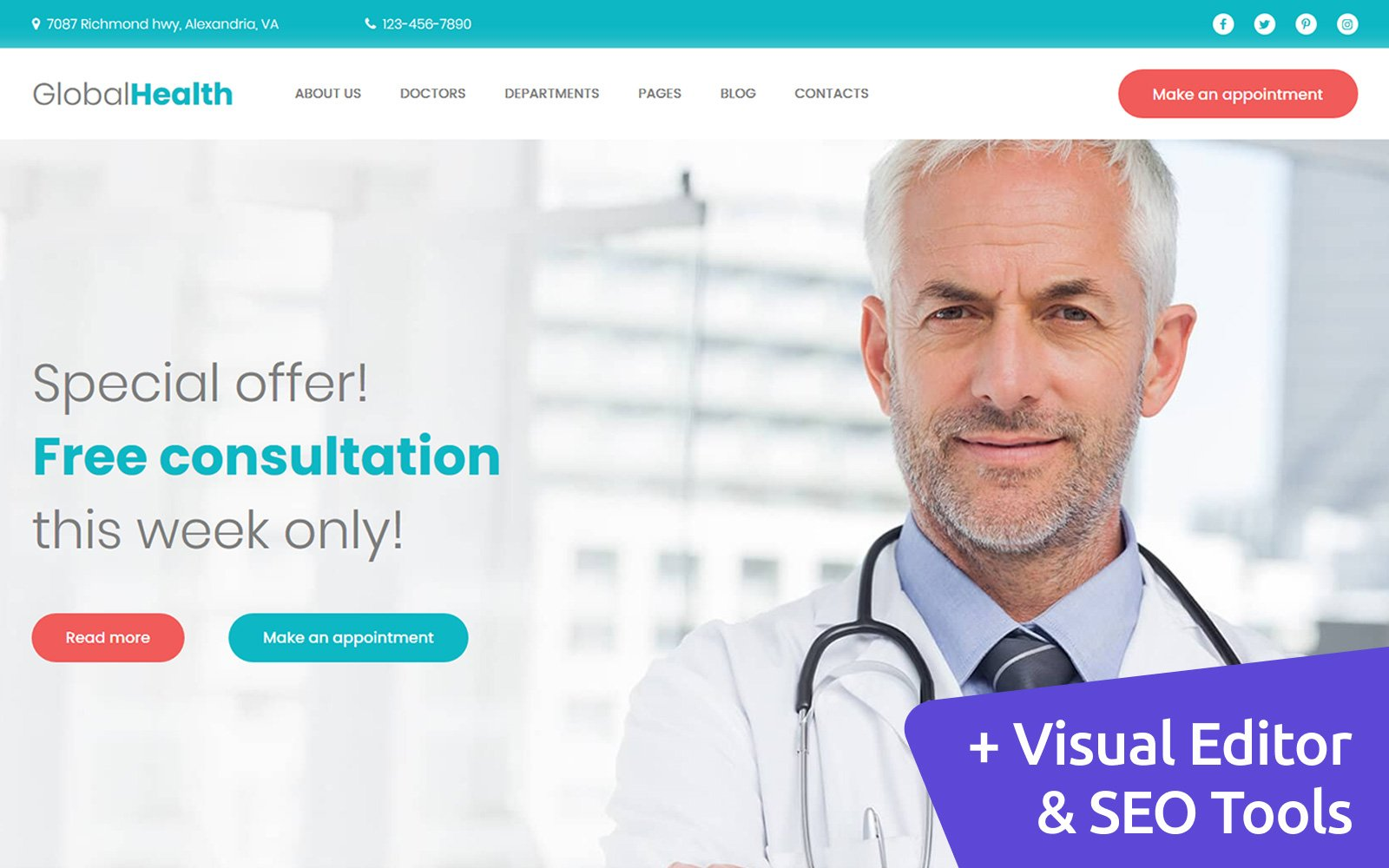 GlobalHealth - Doctor & Medical Moto CMS 3 Template