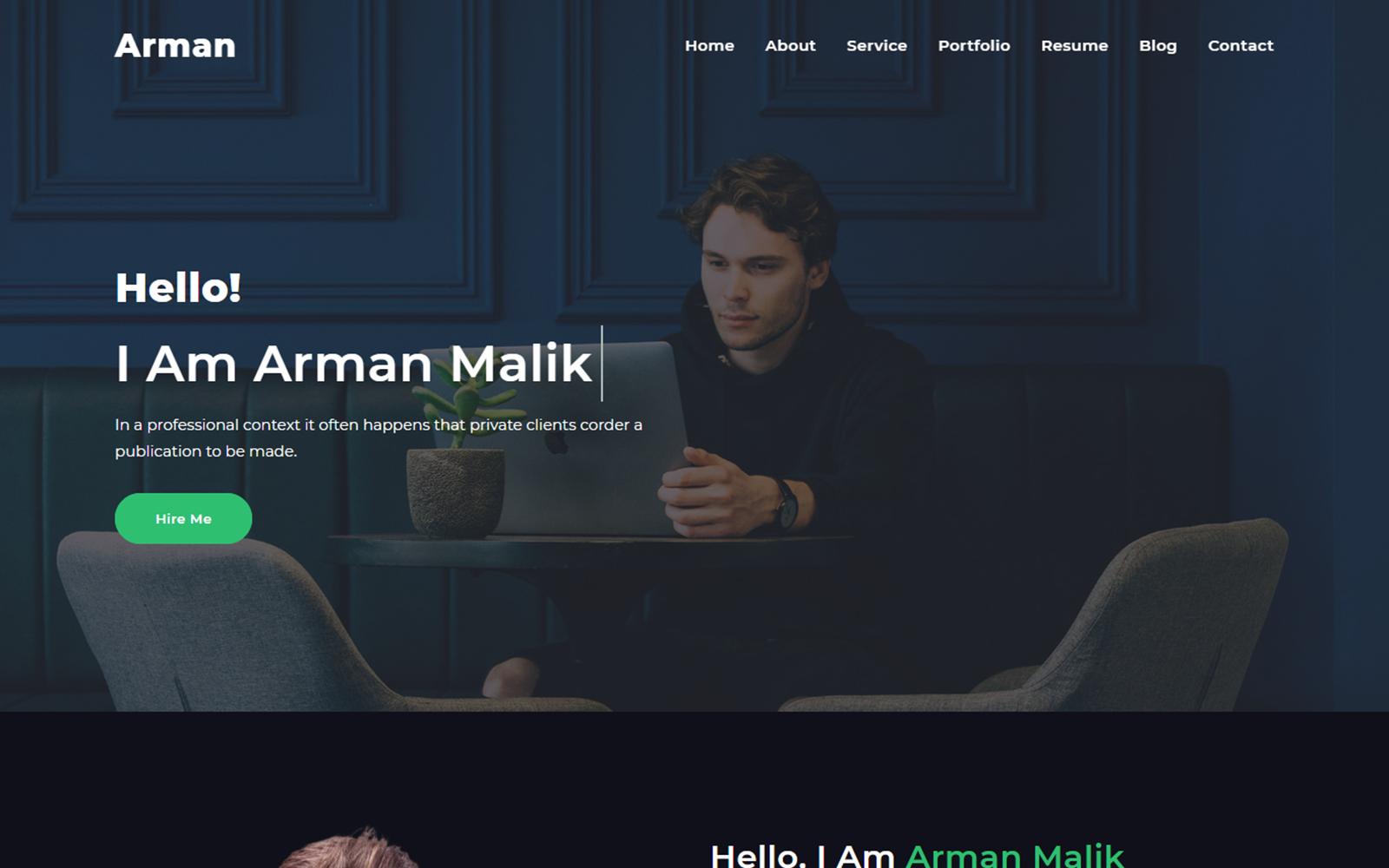 Arman Minimal Personal Portfolio Website Template